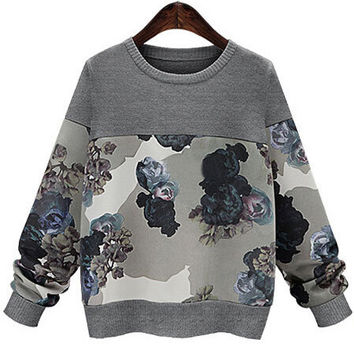 Grey Round Neck Floral Loose Knitwear