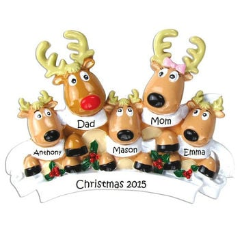 Custom Reindeer Family Ornament, Cute Custom Family Ornament, Family of 5 Holiday Ornament