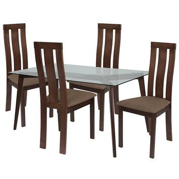 Escalon 5 Piece Espresso Wood Dining Table Set with Glass Top and Vertical Wide Slat Back Wood Dining Chairs - Padded Seats