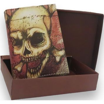 Handcrafted Graphic Skull Trifold Leather Wallet
