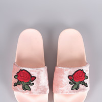 Velvet Embroidery Floral Jelly Slide Sandal