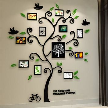 DCCKF4S 2016 New 11pcs Photo Frame Tree Acrylic 3d Three-dimensional Wall stickers TV Sofa Home Decorative Diy Crystal Decal Family tree