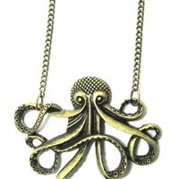 Octopus Necklace Nautical Ocean Sea Monster NF21 Vintage Gold Tone Pendant