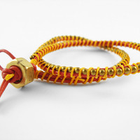 Red Orange And Yellow Leather Double Wrapped Bracelet on Luulla