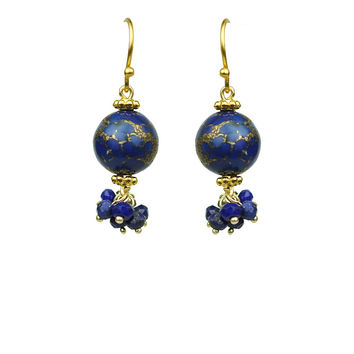 Lapis Lazuli Cluster Earrings