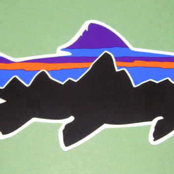 Patagonia Fish Sticker Fitz Roy Steelhead Trout Rare Die Cut Mountain Logo Decal