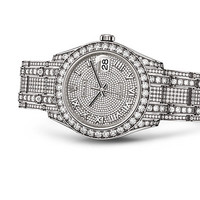Rolex Pearlmaster 34 Watch: 18 ct white gold with lugs set with diamonds - 81409RBR