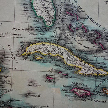 ANTILLES old map of the Antilles 1837 original antique print about Caribbean Cuba vintage maps West Indies Jamaica Curacao small poster