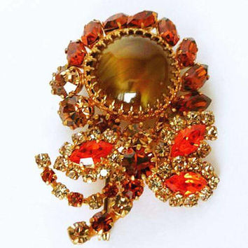 "Juliana D&E Flower Brooch Topaz Orange Green Rhinestones Gold Metal 2 1/2"" Vintage"