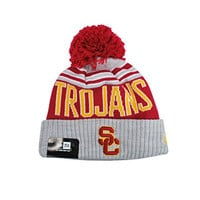 NEW ERA Trojans USC Beanie College Football Headwear Winter Blaze Gray Hat Knit