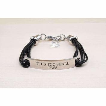 Genuine Leather ID Bracelet with Crystals from Swarovski - THIS TOO SHALL PASS