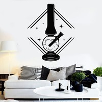 Vinyl Wall Decal Bong Cannabis Smoke Marijuana Rastafarian Stickers Unique Gift (ig4027)