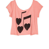 Heart Music Tee With Bow Back