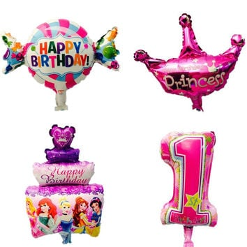 mini Kids Birthday foil balloons party decorations candy cake crown globos inflatable balloon Kids toy baby shower supplies