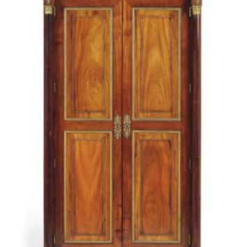 A SPANISH FERDINANDO VII ORMOLU-MOUNTED MAHOGANY INVERTED BREAKFRONT ARMOIRE, BY FRANCESCO LOPEZ DE LA LLARE, CIRCA 1830