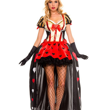 TITIVATE Halloween Adult Poker Red Queen of Hearts Princess Costume Fancy Game Dress Alice In Wonderland Carnival Party Uniform