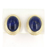 Vintage Large Lapis Lazuli Oval Clip Earrings 18 Karat Yellow Gold Estate Jewelry