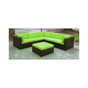Black Resin Wicker Outdoor Furniture Sectional Sofa Set - Lime Green Cushions