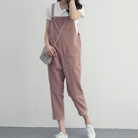 Women Corduroy Overall Capris Ladies Pink Overalls With Multi Pockets 2016 New Fashion Free Shipping