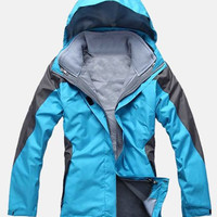 Color Block Hooded Zip Up Firefly Jacket