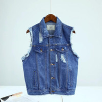 Blue Ripped Sleeveless Denim Vest