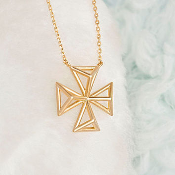 SALE - Gold Filigree Square Cross Charm Long Necklace