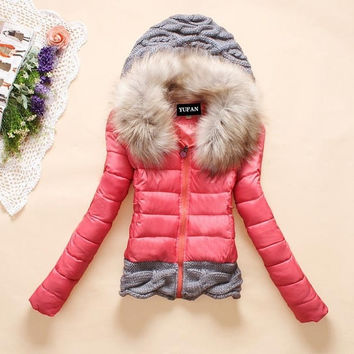 Winter thickening with a hood short design wadded jacket large fur collar down jacket cotton-padded fur collar outerwear US Size,1TA) = 1645861700