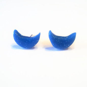 Blue Moon Glitter Clay Earrings ~ Polymer Clay Earrings ~ Round Stud Earrings ~ Everyday Earrings ~ Gift Party Favor ~ Nickel Free