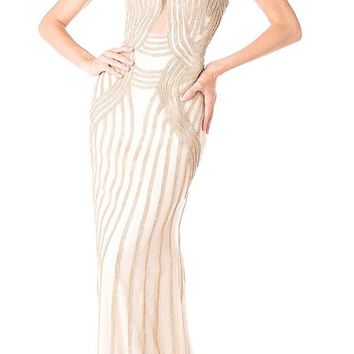 Strapless Embellished Mermaid Long Prom Dress Gold