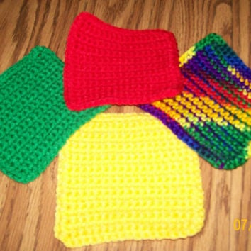 Drink Coasters, Handmade Coasters, Crochet Coasters, Square Coasters, Placemat, Drinkmat