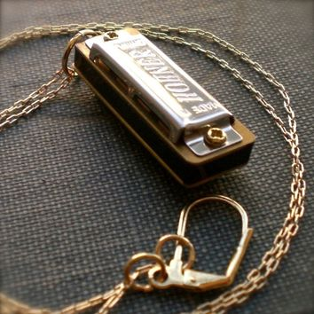Harmonica Necklace Mini Working Musical Instrument