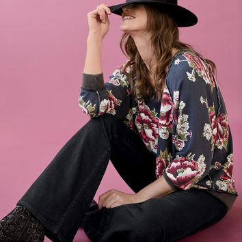 Free People Go On Get Floral Pullover