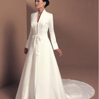 Autumn Winter Ivory Bridal Wedding Dress with Long Sleeves Custom Size 4 6 8 10
