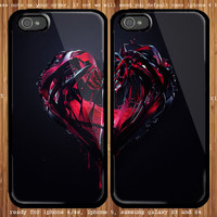 Abstract Heart 3D for couple case iphone 4/4s, iphone 5 and samsung Galaxy S3, samsung Galaxy S4