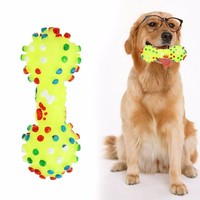 Dumbbell/Bone Squeaky Chew Dog Toy
