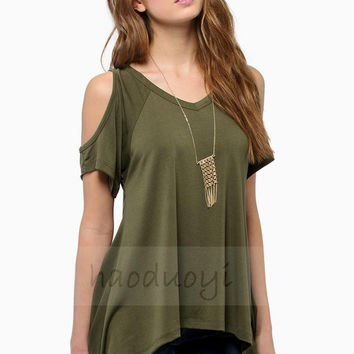 Women Short Sleeve Casual Solid Tops T-shirt Blouse - 9 Colors