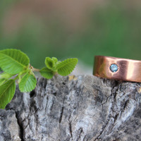 Blue Zircon Copper Ring, Wide Band, Men Copper Ring, Women Copper Ring, Nature Inspired, Hand forged Copper, Groomsmen Best Man Gift