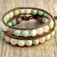 Boho bracelet. Chunky beaded leather wrap. Aqua, mint, white beach bracelet.