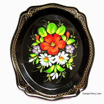 Vintage Russian Toleware Tray, Black Tole Painted Metal