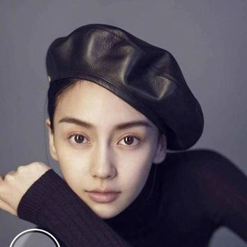 jiangxihuitian Brand Fashion Felt Pu Leather Beret Hat Women Cap Female Ladies Beanie Beret Girls For Spring And Autumn