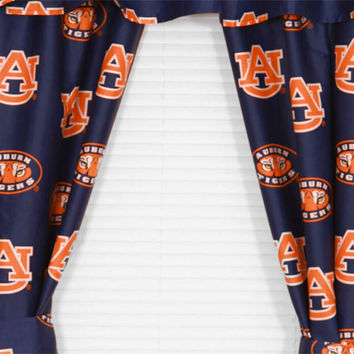 NCAA Auburn Tigers Logo Collegiate Window Curtains: 84drop