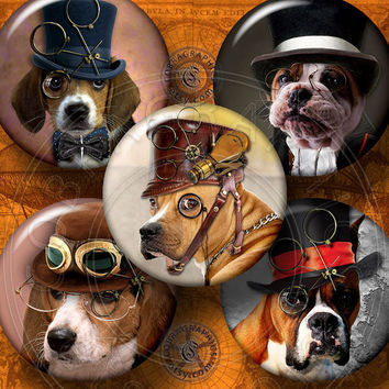 """Steampunk Dogs - 2.625"""" Circles - Printable Digital Collage Sheets for 2.25"""" Pocket Mirrors, Buttons, Crafts -  CG-609M"""