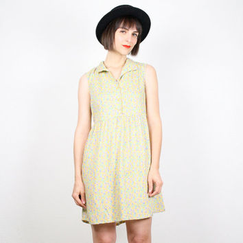 Vintage 90s Dress Mini Dress Pastel Yellow Dress Sundress Soft Grunge Dress Babydoll Dress 1990s Dress Floral Print Dress M Medium L Large