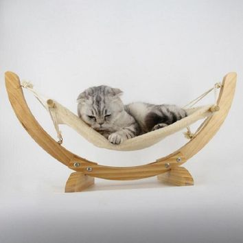 Cats Hammock Hanging Bed Perch With Wood Frame And Soft Cushion