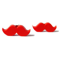 Mustache earrings polymer nickel free post red teen girl gift for her Easter