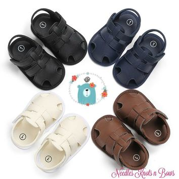 Baby Boys Sandals, Boys Non Slip Crib Shoes, Black - White - Brown - Navy PU Leather Baby Boys Sandals