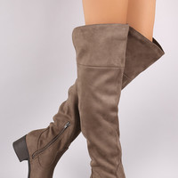 City Classified Suede Slit Block Heeled Over-The-Knee Boots