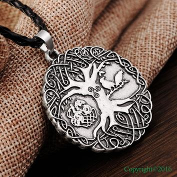 Norse Vikings Amulet on a Black Cord - Free Shipping -Raven Tree of Life