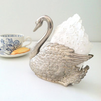 Vintage Silverplated Swan Napkin Holder Elegant Serving Table and Tea Party Decor