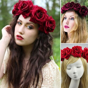 Bride women Rose Flower crown Hairband Wedding Flower Garland Headband Festival flower wreath Elastic Headress Hair Accessories